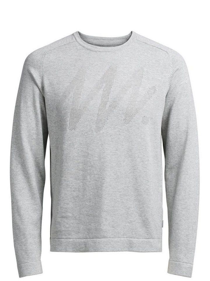 Jack & Jones Minimalistisch detaillierter Pullover in Light Grey Melange