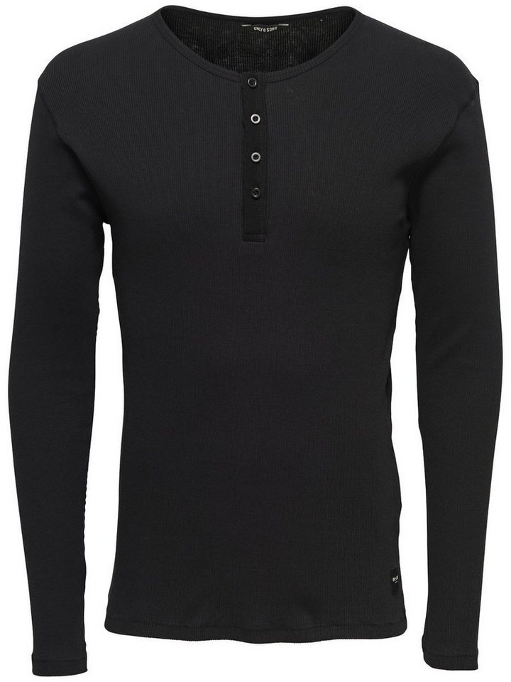 ONLY & SONS Langärmeliges T-Shirt in Black