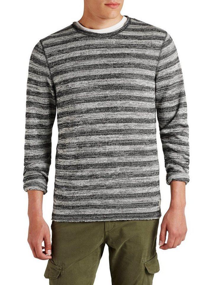 Jack & Jones Streifenmelange- Sweatshirt in Light Grey Melange