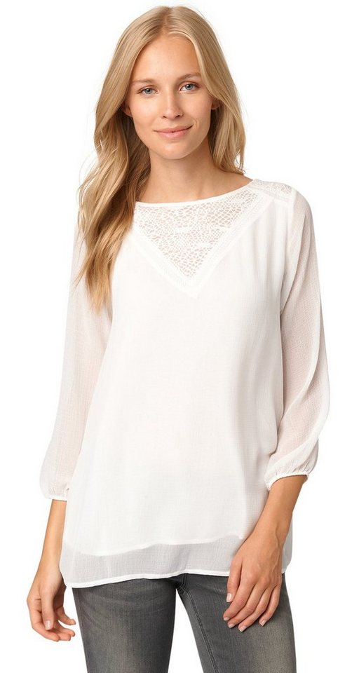 TOM TAILOR Bluse »lovely blouse with lace detail« in whisper white