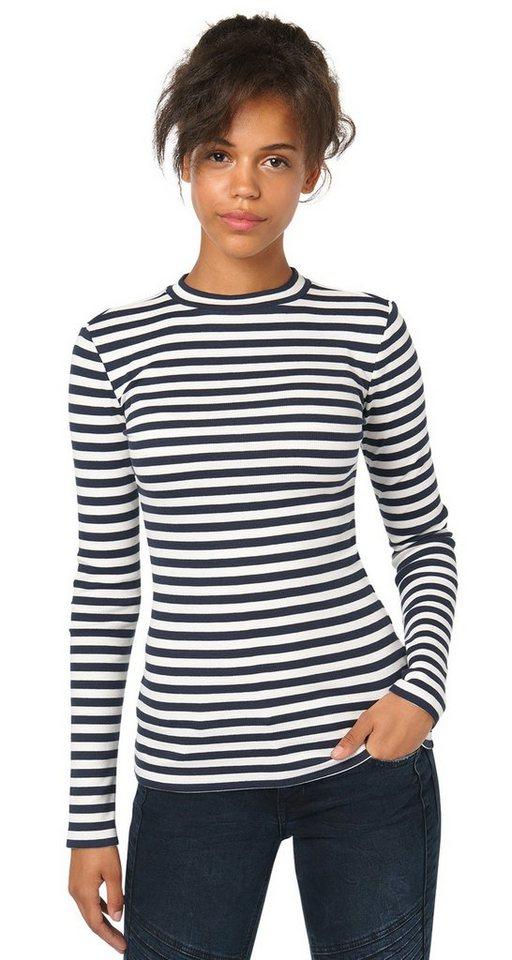 TOM TAILOR DENIM T-Shirt »striped turtle neck shirt« in off white