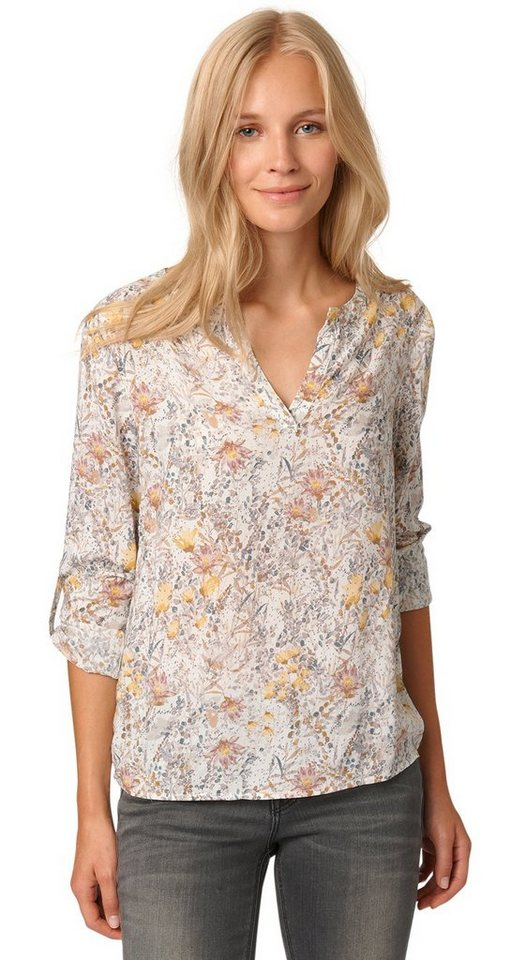 TOM TAILOR Bluse »Bluse mit Blumen-Print« in whisper white