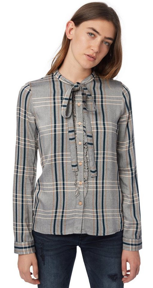 TOM TAILOR DENIM Bluse »check blouse with bow collar« in off white