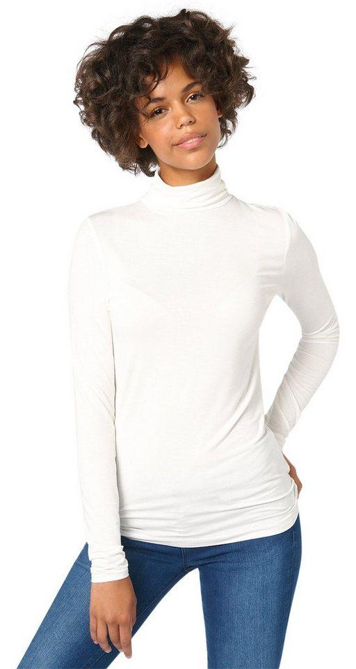 TOM TAILOR DENIM T-Shirt »leichtes Rollkragen-Shirt« in off white