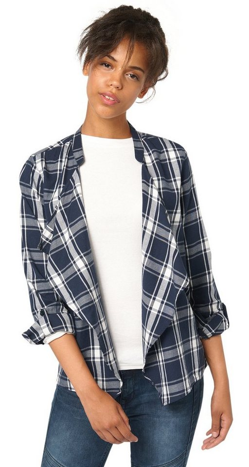 TOM TAILOR DENIM Bluse »checked blouse cardigan« in sky captain blue