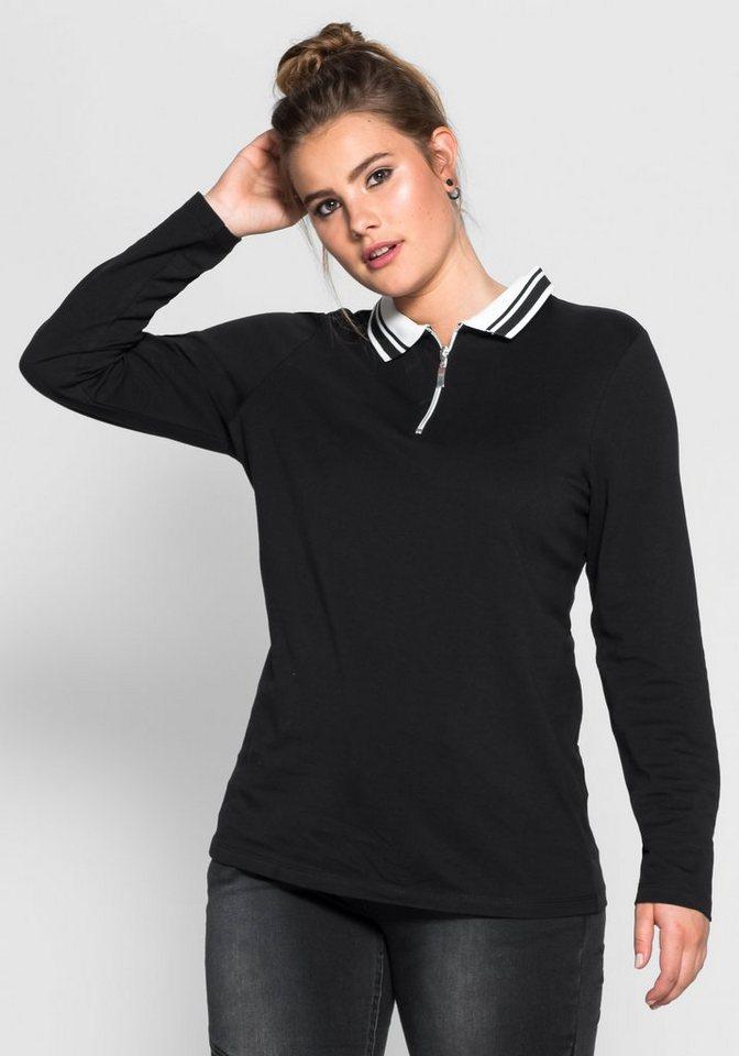 sheego Trend Poloshirt in schwarz