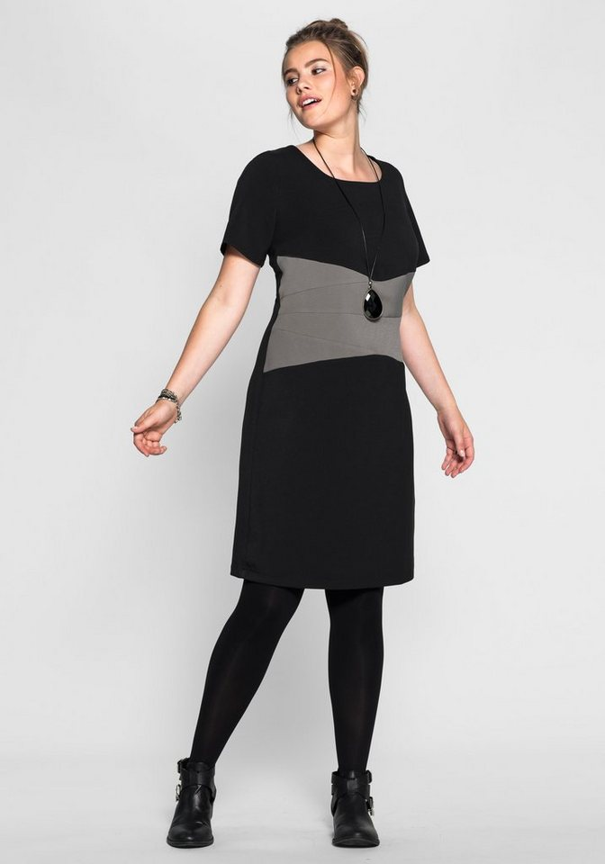 sheego Trend Kleid in schwarz-grau