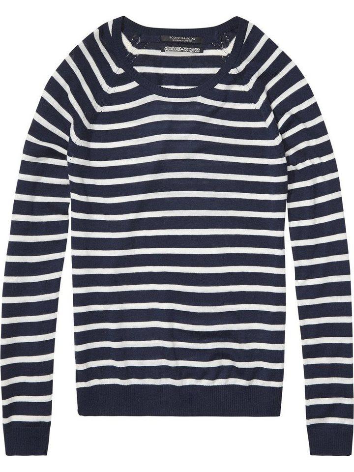 Maison Scotch Pullover »grestreifter Sweater« in blau