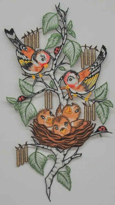 Stickereien Plauen Fensterbild »Vogelnest«