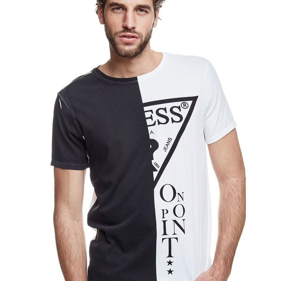 Guess LOGO-T-SHIRT COLOR BLOCK in Weiß