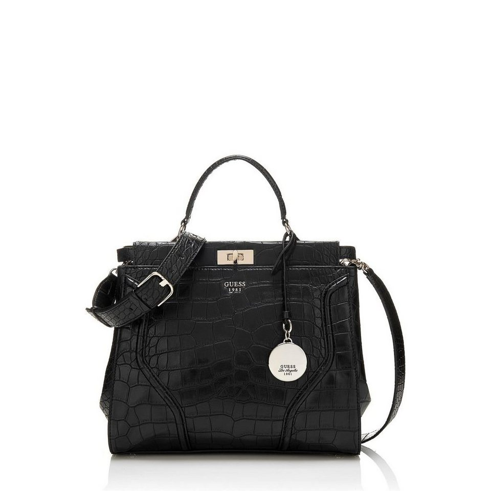Guess BAULETTO-TASCHE GEORGIE KROKO-OPTIK in Schwarz