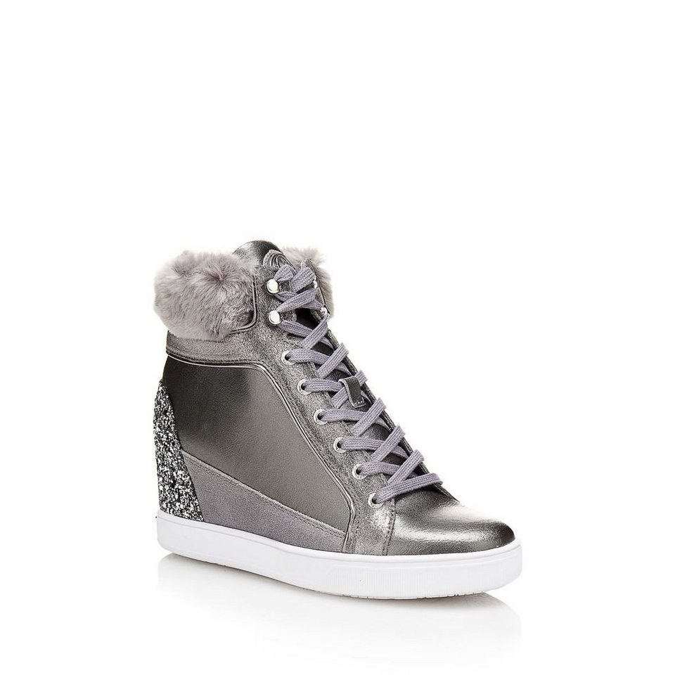 Guess SNEAKER-WEDGES FURR KUNSTFELL in Grau