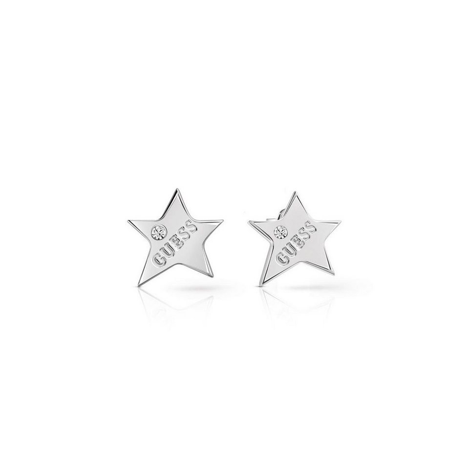 Guess OHRRINGE STARLIGHT LOGO RHODINIERT in Silber