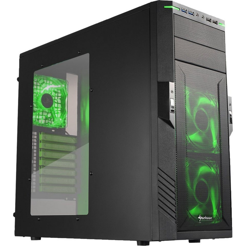 Sharkoon Tower-Gehäuse »T28 green edition«