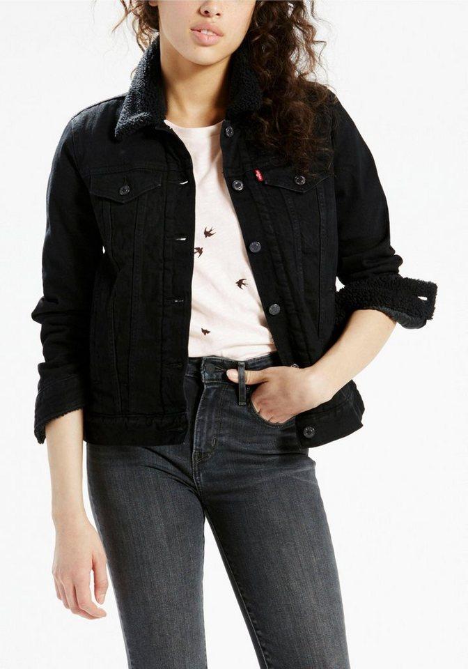 Levi's® Jeansjacke mit Fellimitatdetails in black