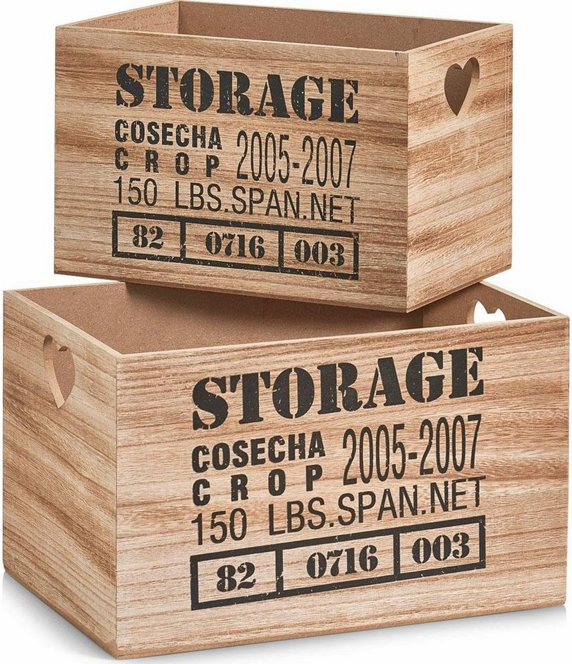 Home affaire Aufbewahrungs-Kiste »Storage« (2-tlg.) in schwarz