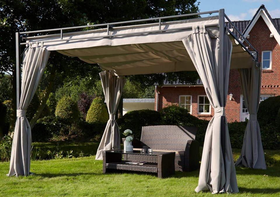 pavillon mit seitenteilen flachdach pergola 3x3 m online. Black Bedroom Furniture Sets. Home Design Ideas