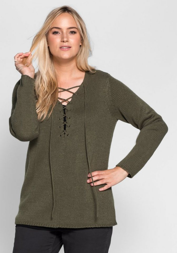 sheego Casual Pullover mit Schnürung in khaki