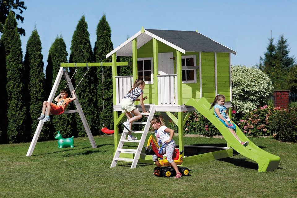 scheffer outdoor toys stelzenhaus tobi gr n rutsche doppelschaukel b t h 376 447 281 cm. Black Bedroom Furniture Sets. Home Design Ideas