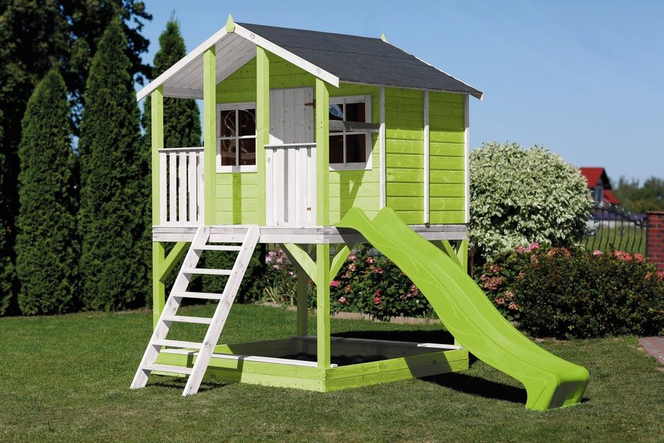 scheffer outdoor toys stelzenhaus tobi gr n mit. Black Bedroom Furniture Sets. Home Design Ideas