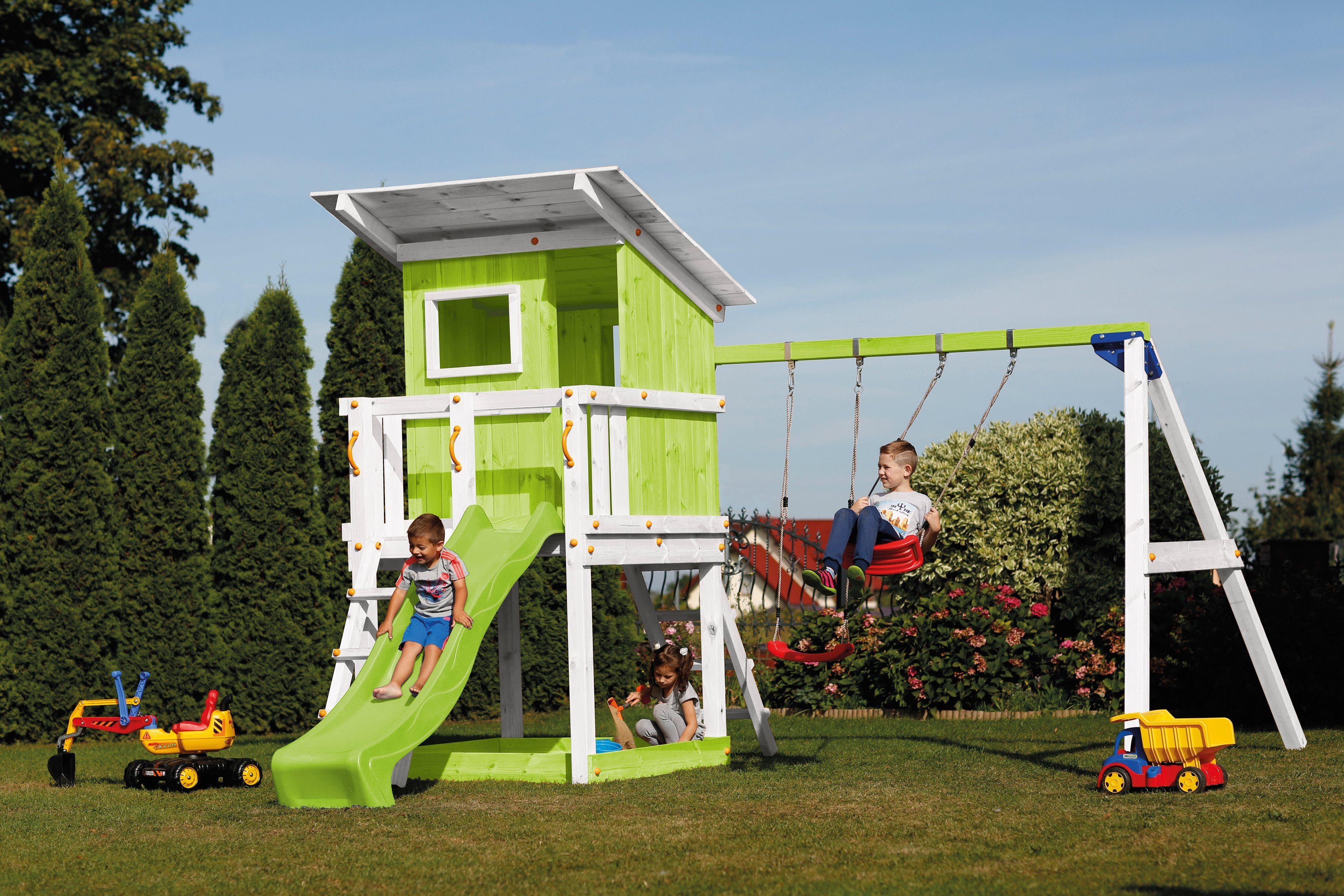 SCHEFFER OUTDOOR TOYS Spielturm »Beach Hut«, grün, mit Doppelschaukel, B/T/H: 400/150/298 cm