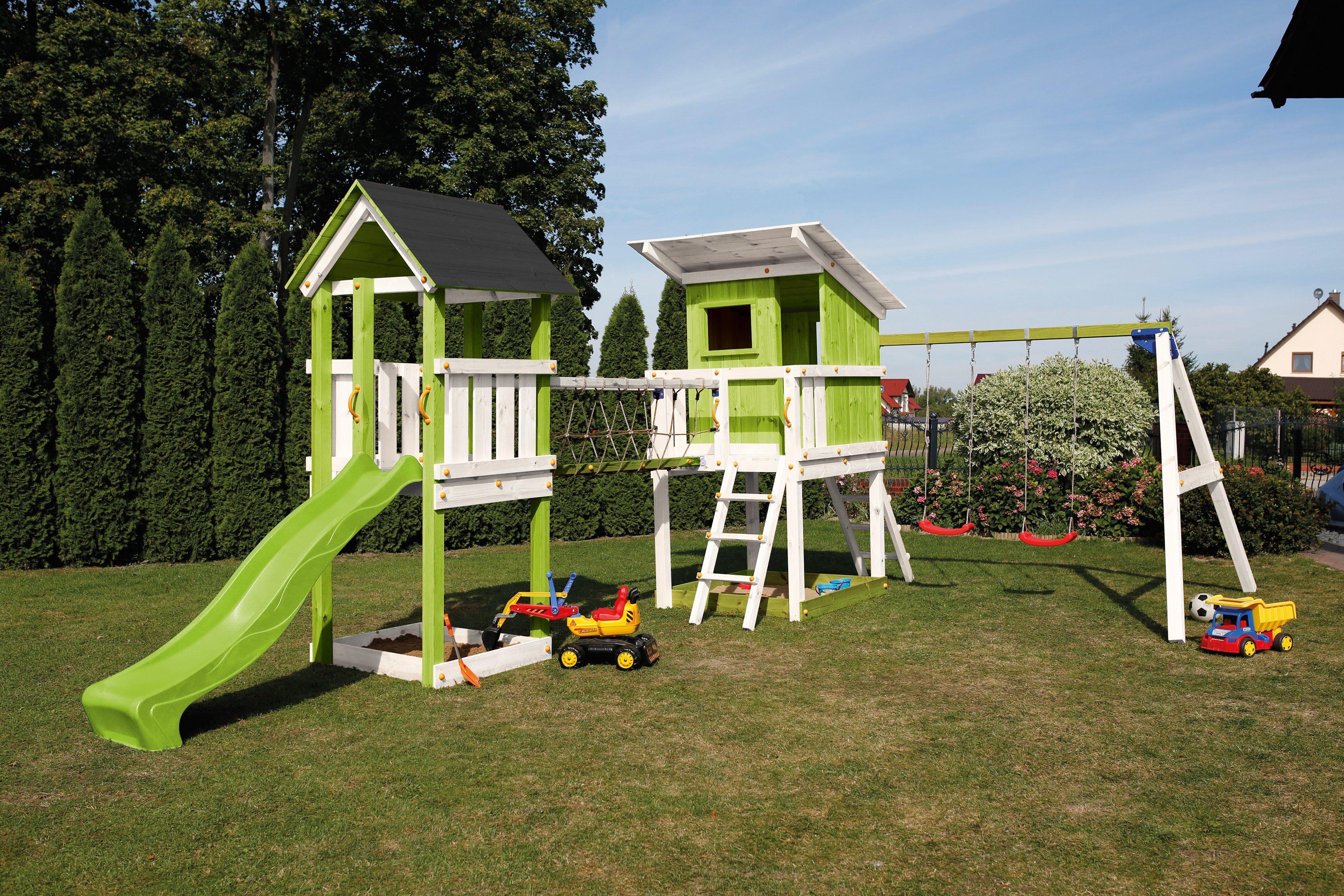 SCHEFFER OUTDOOR TOYS Spielturm »Beach Hut«, Doppelschaukel und Brücke, B/T/H: 600/150/298 cm