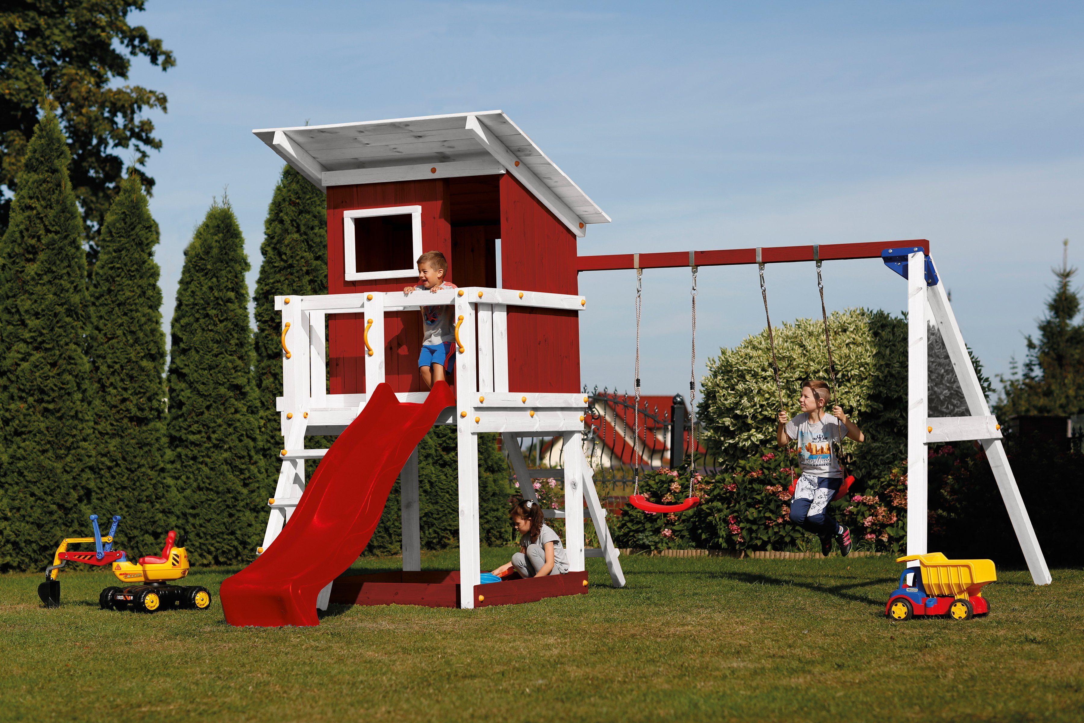 SCHEFFER OUTDOOR TOYS Spielturm »Beach Hut«, rot, mit Doppelschaukel, B/T/H: 400/150/298 cm