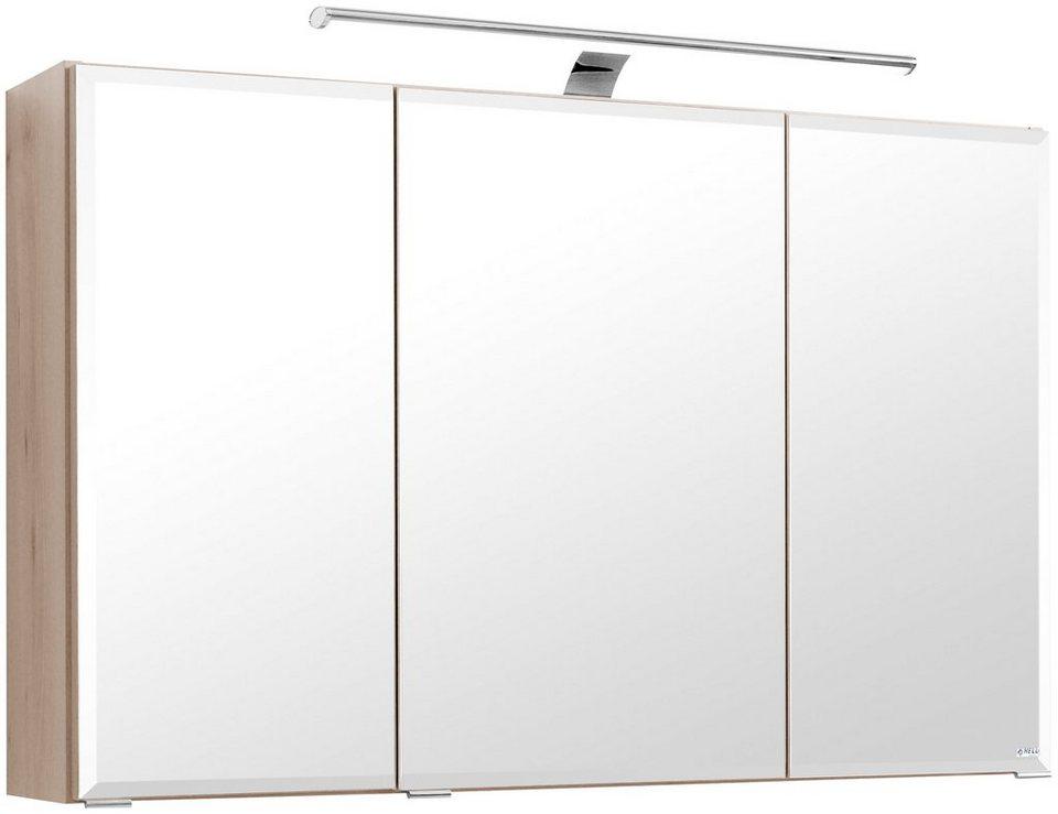 Spiegelschrank »Fontana« Breite 100 cm, mit LED-Beleuchtung in buchefarben