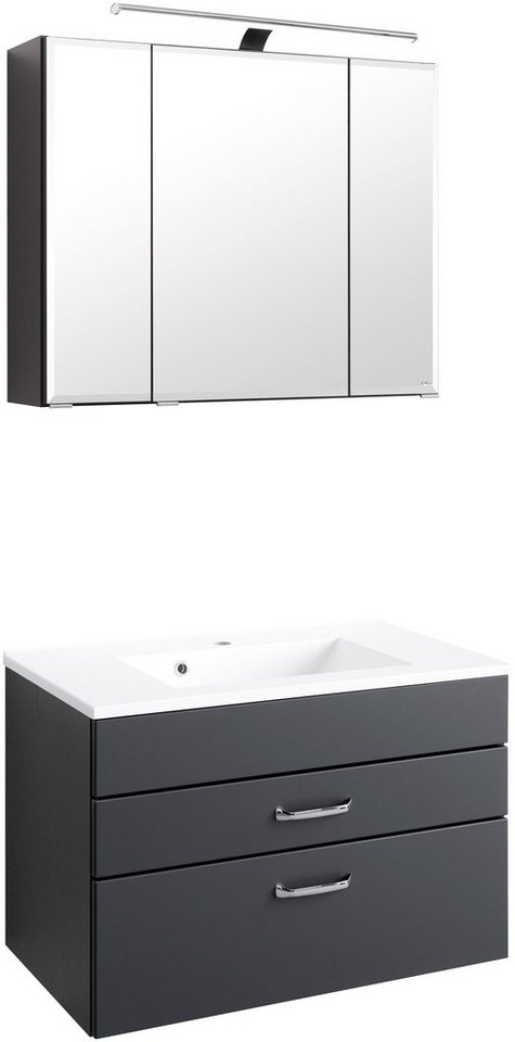 Held Möbel Badmöbel-Set »Fontana«, Breite 80 cm in anthrazit/granitfarben x anthrazit/graphitfarben