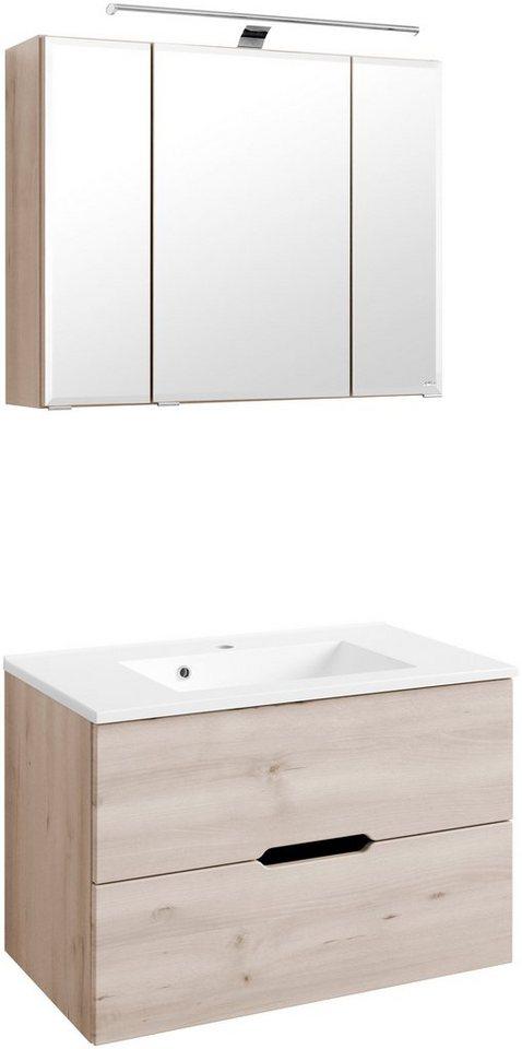 Held Möbel Waschplatz-Set »Belluno«, Breite 80 cm in buchefarben
