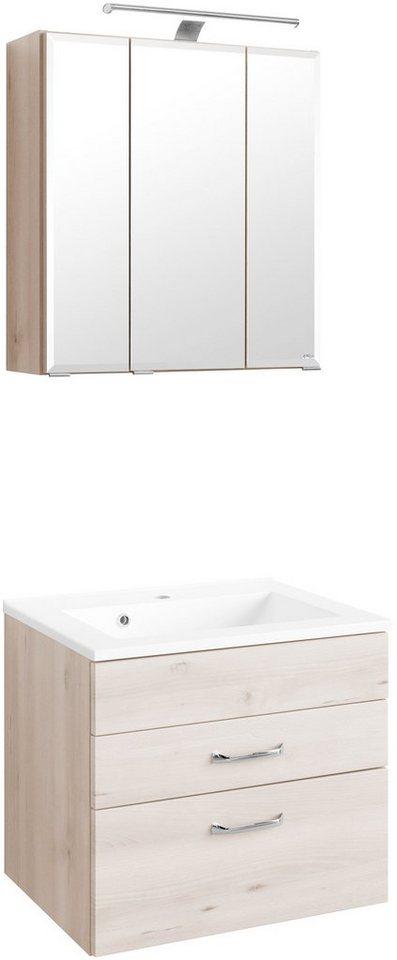Badmöbel-Set »Fontana«, Breite 60 cm in buchefarben x buchefarben