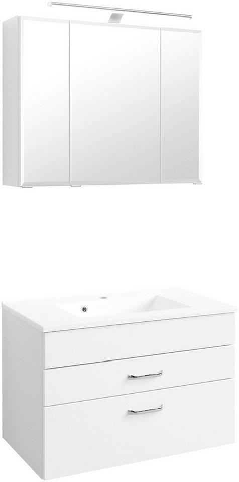 Held Möbel Badmöbel-Set »Fontana«, Breite 80 cm in weiß x weiß