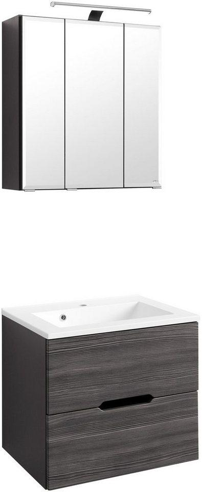 Waschplatz-Set »Belluno«, Breite 60 cm in anthrazit/graphitfarben