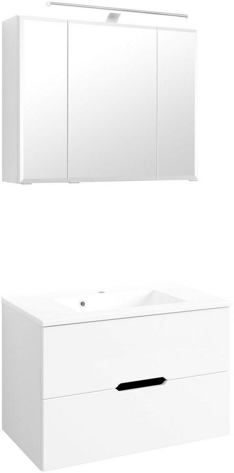 Held Möbel Waschplatz-Set »Belluno «, Breite 80 cm in weiß
