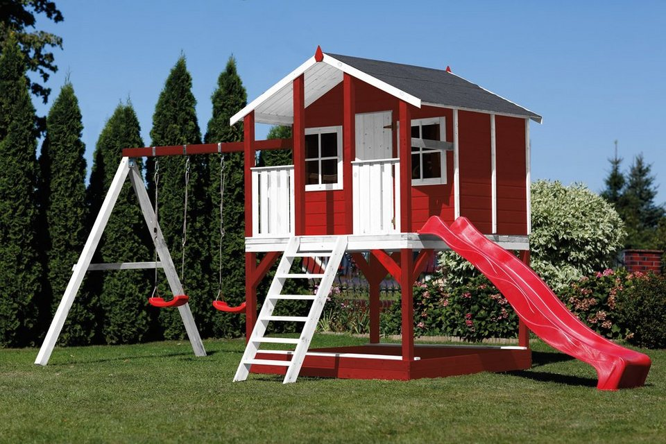 scheffer outdoor toys stelzenhaus tobi rot rutsche doppelschaukel b t h 376 447 281 cm. Black Bedroom Furniture Sets. Home Design Ideas