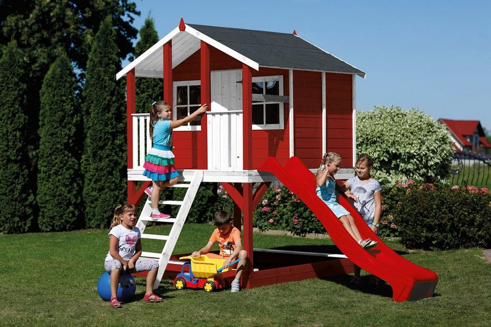 scheffer outdoor toys stelzenhaus tobi rot mit rutsche. Black Bedroom Furniture Sets. Home Design Ideas