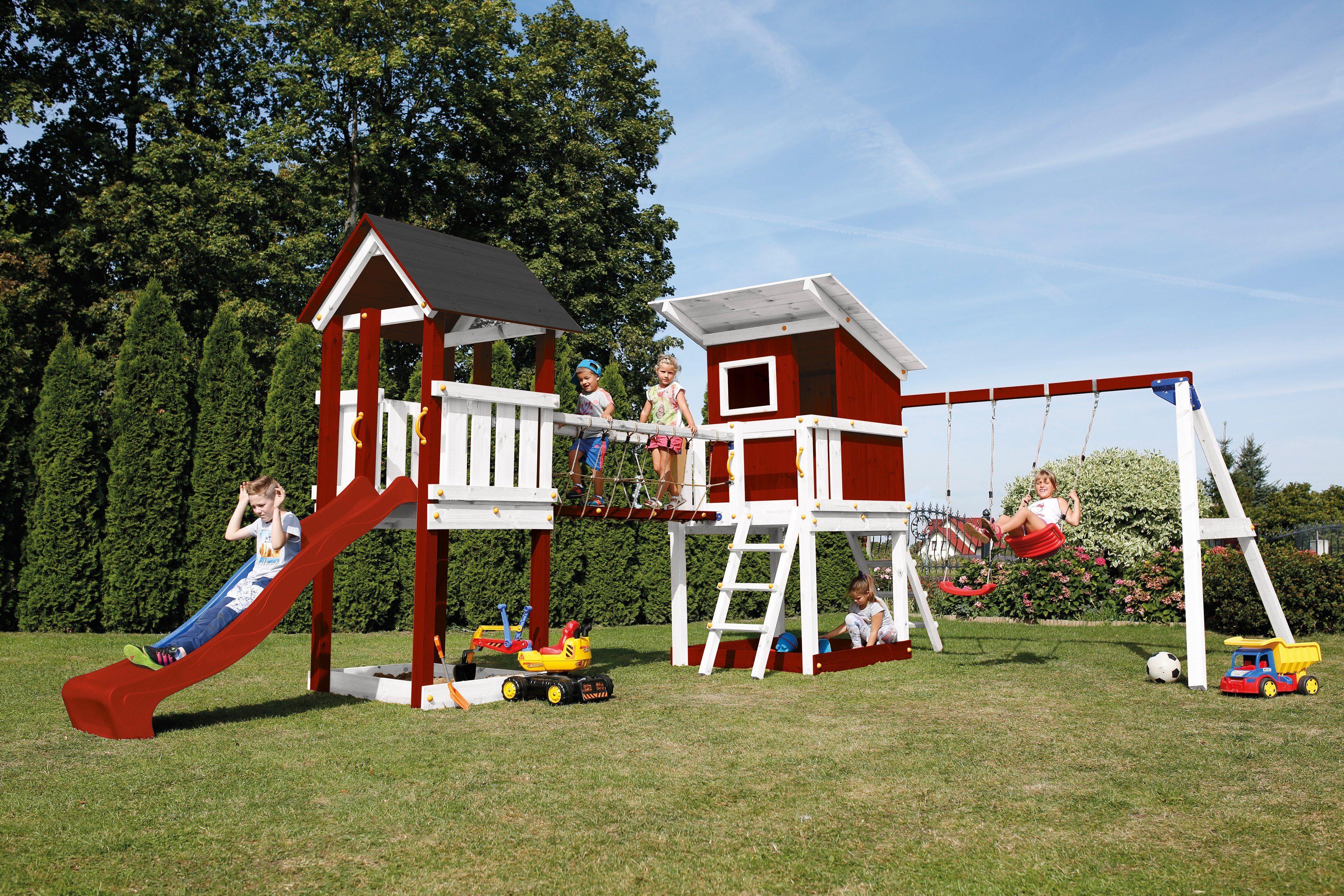 Spielturm »Beach Hut«, Doppelschaukel und Brücke, B/T/H: 600/150/298 cm