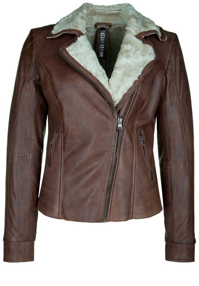 Freaky Nation Lederjacke »HALIFAX« in dark cognac