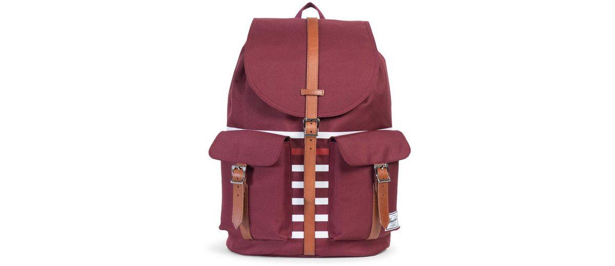 Herschel Rucksack mit Laptopfach und Lederriemen, »Dawson Backpack, Windsor Wine Offset Stripe«