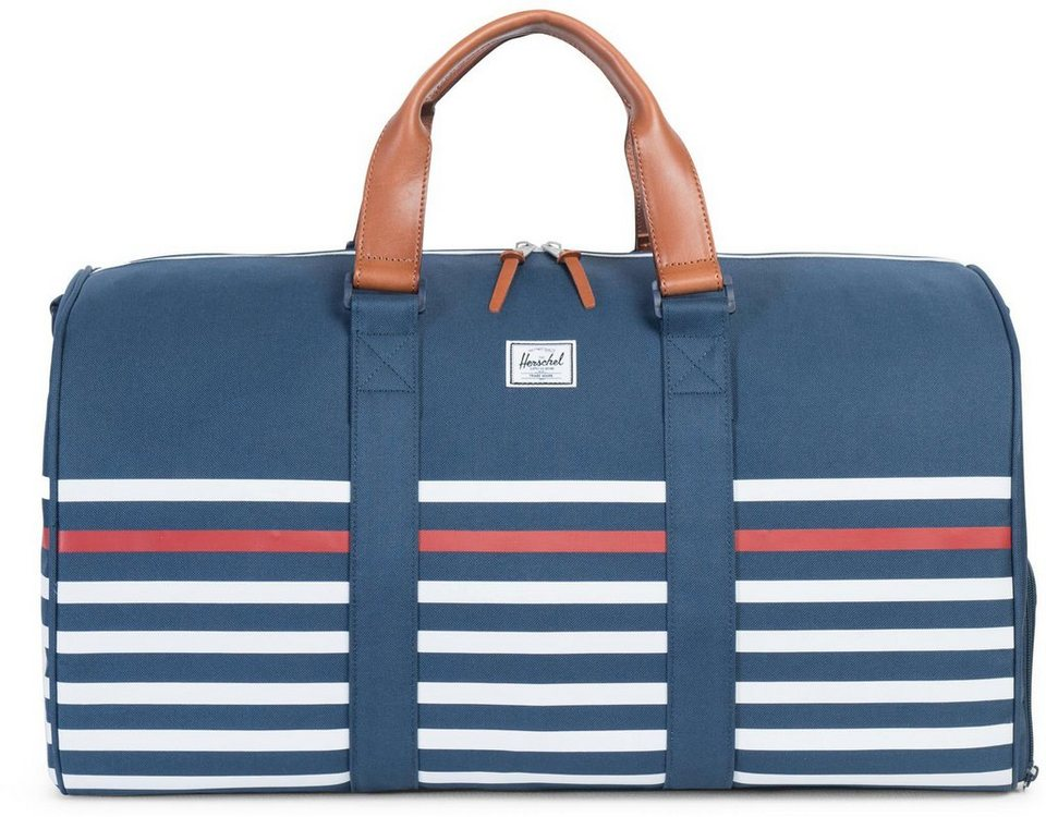 Herschel Reisetasche mit Ledergriffen, »Novel Duffle, Offset Stripe Navy« in Stripe Navy