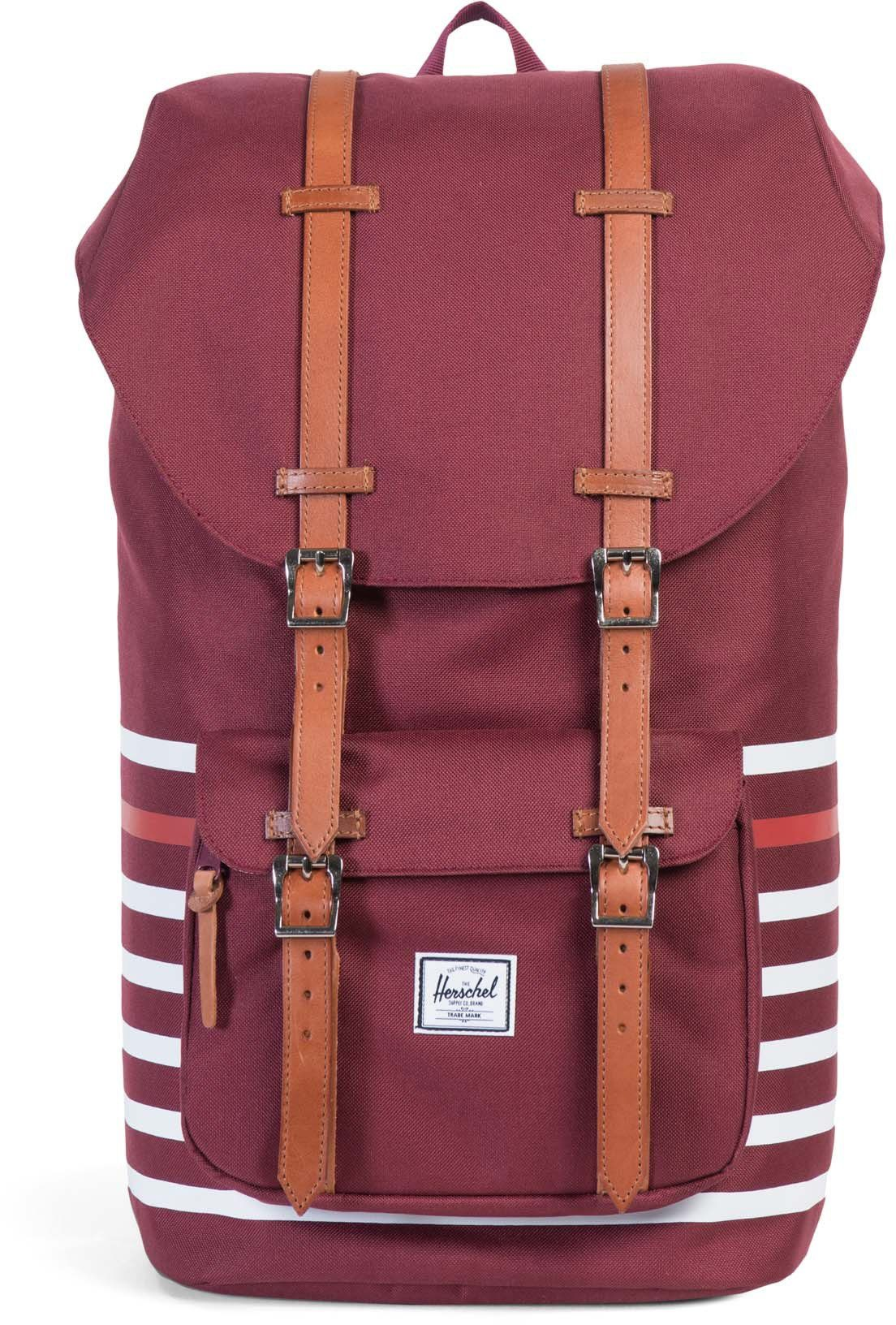 Herschel Rucksack mit Laptopfach/Lederriemen, »Little America Backpack, Windsor Wine Offset Stripe«