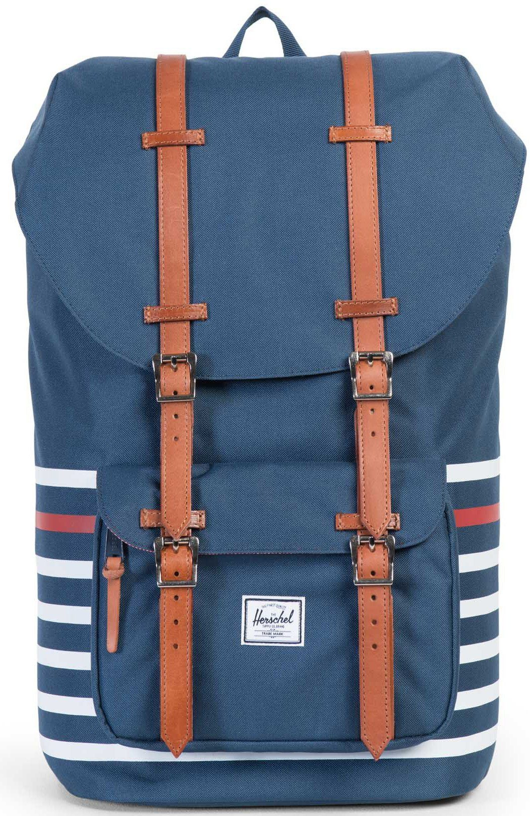 Herschel Rucksack mit Laptopfach und Lederriemen, »Little America Backpack, Navy Offset Stripe«
