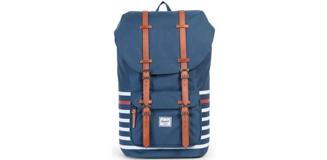 Herschel Rucksack mit Laptopfach und Lederriemen, »Little America Backpack, Navy Offset Stripe«