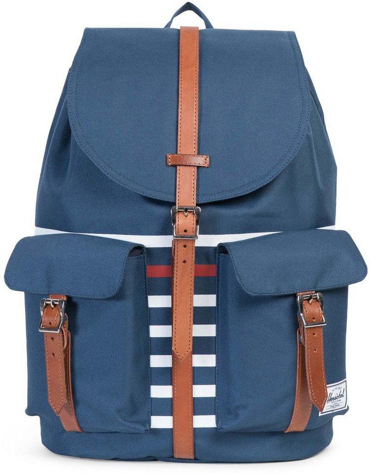 Herschel Rucksack mit Laptopfach und Lederriemen, »Dawson Backpack, Navy Offset Stripe« in Navy Stripe
