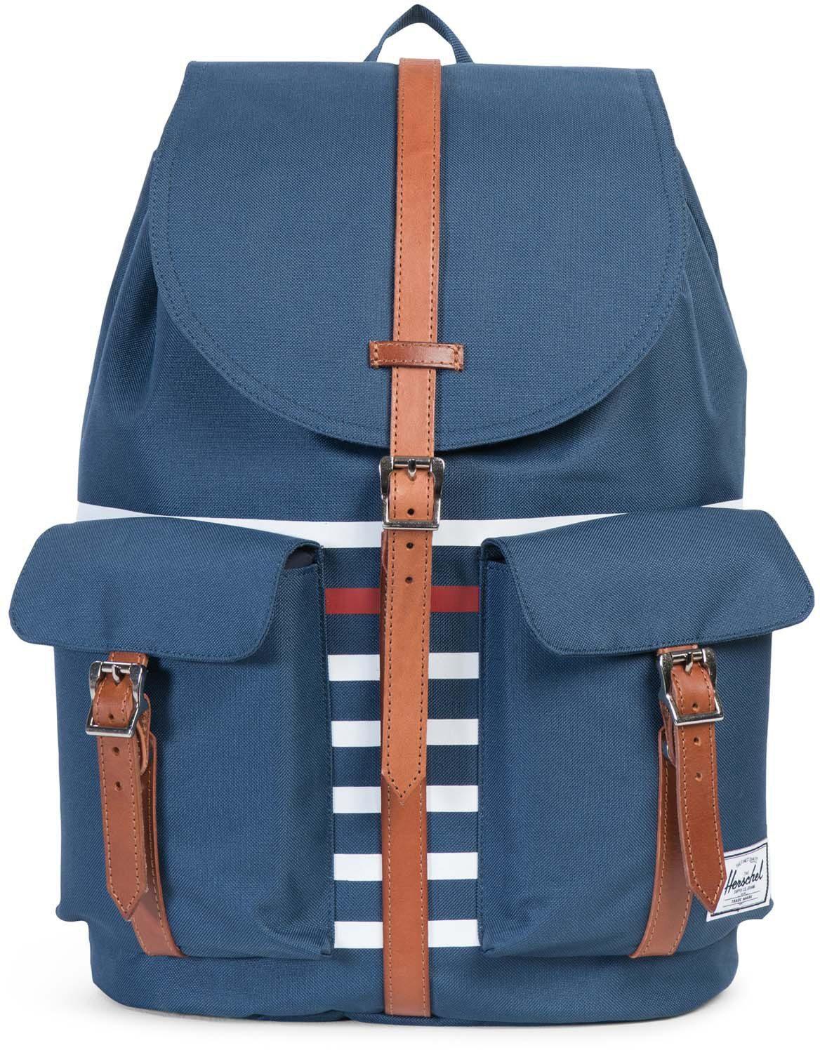 Herschel Rucksack mit Laptopfach und Lederriemen, »Dawson Backpack, Navy Offset Stripe«