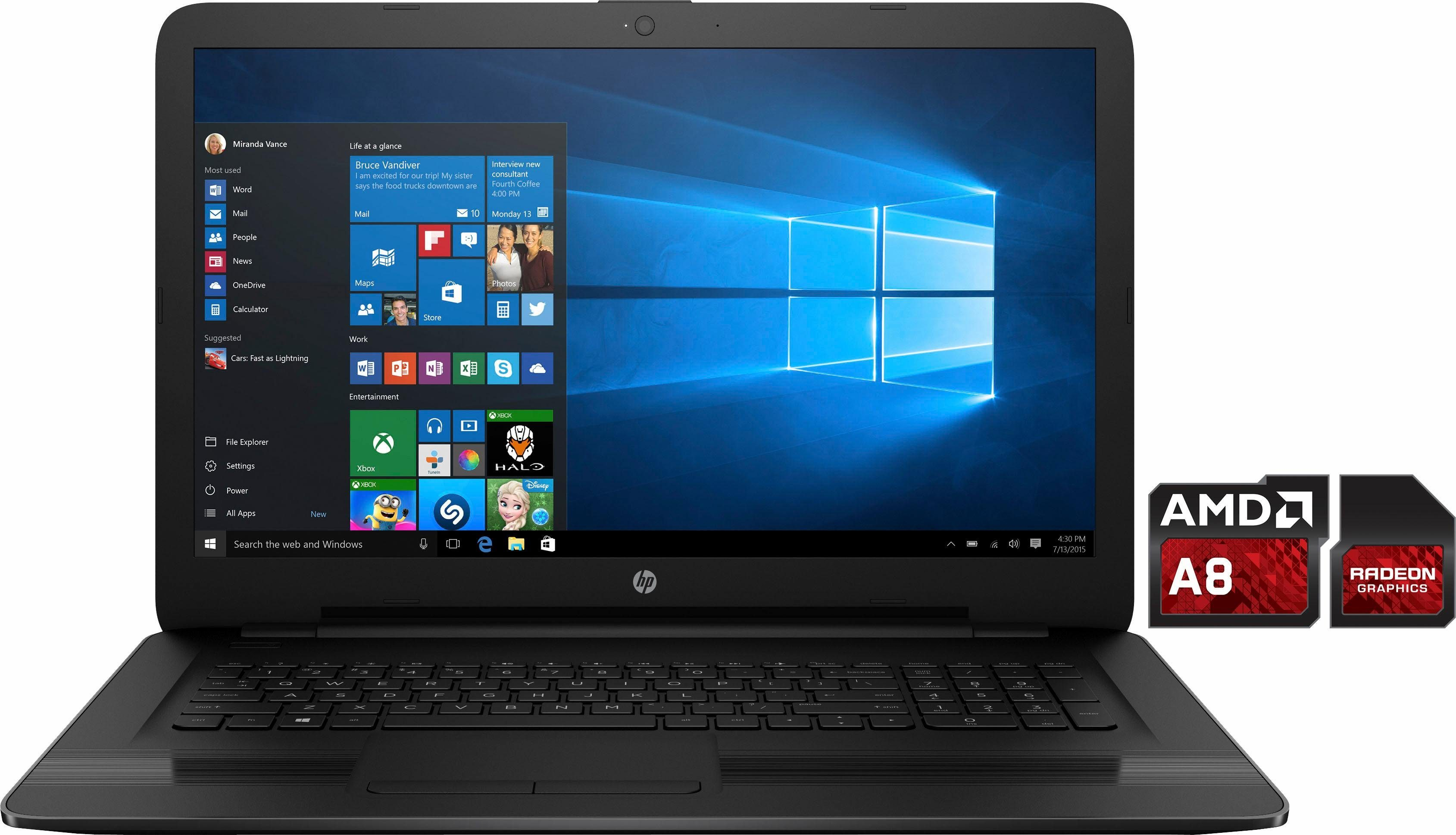 HP 17-y040ng Notebook, AMD Quad Core A8, 43,9 cm (17,3 Zoll), 1000 GB Speicher, 8192 MB DDR3L-SDRAM