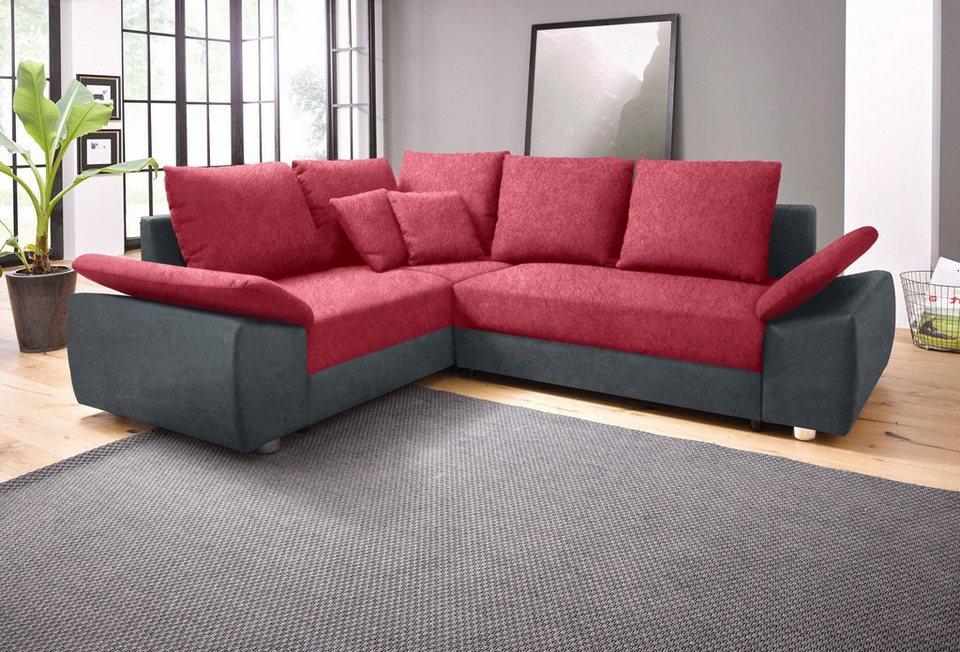 Sit&More Polsterecke, wahlweise mit Bettfunktion und Bettkasten in grau/bordeaux