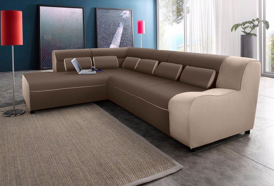 domo collection ecksofa mit ottomane wahlweise mit bettfunktion online kaufen otto. Black Bedroom Furniture Sets. Home Design Ideas