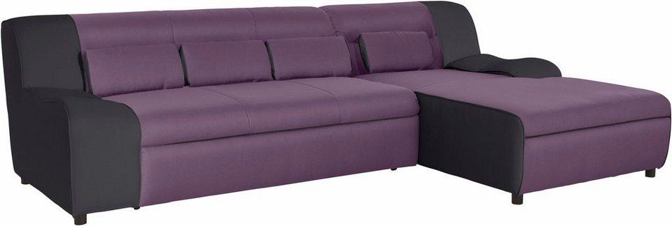 domo collection ecksofa mit recamiere wahlweise mit bettfunktion in 3 bezugsqualit ten online. Black Bedroom Furniture Sets. Home Design Ideas