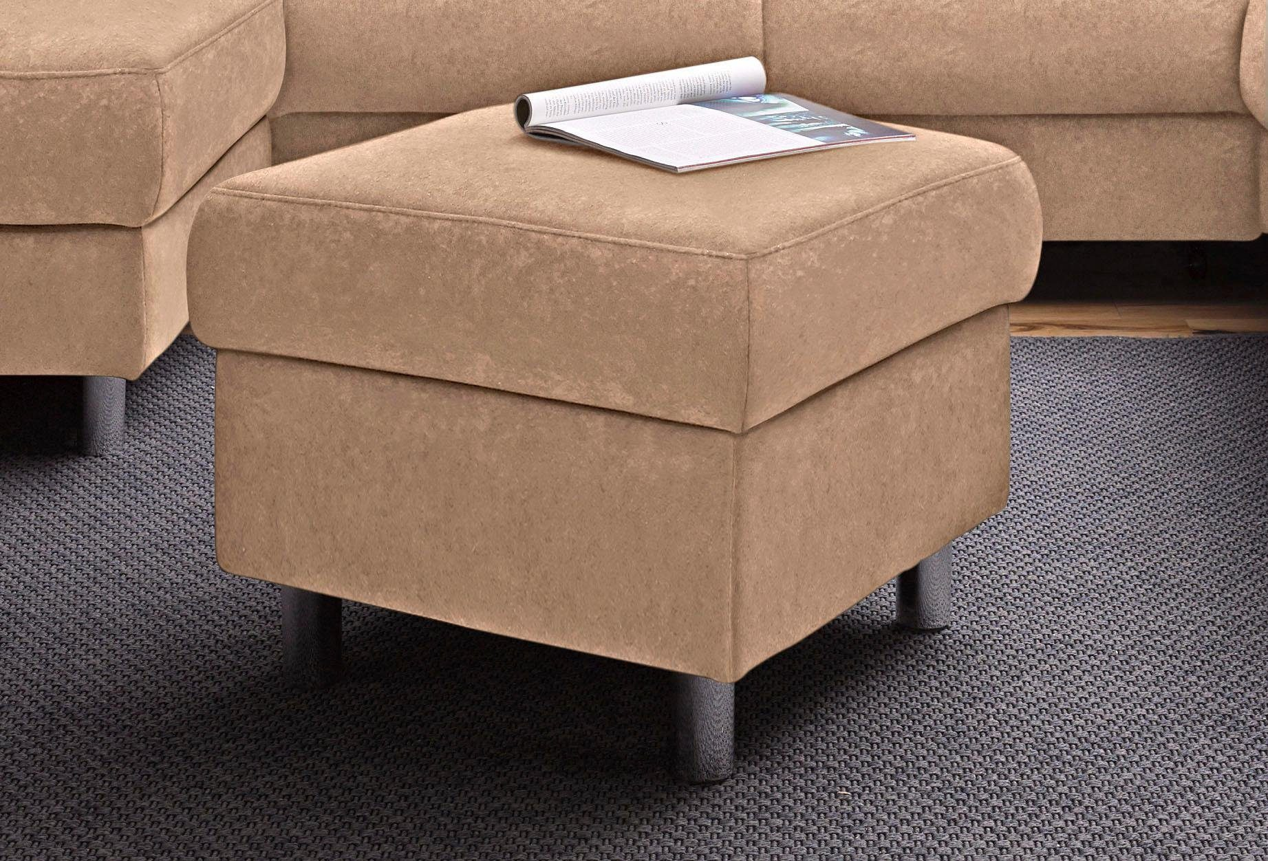 sit&more Polsterhocker, grau, Luxus-Microfaser ALTARA NUBUCK®